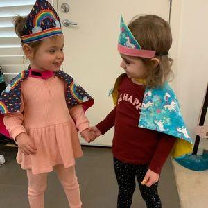 Kids double sided capes. Blue unicorns 🦄